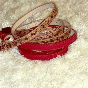 Leopard and red skinny belt set
